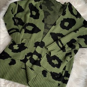 Army green leopard print sweater